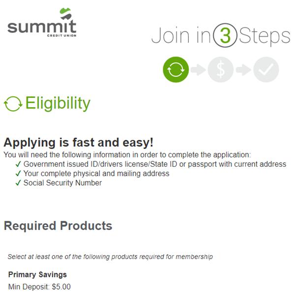 Summit Credit Union registration
